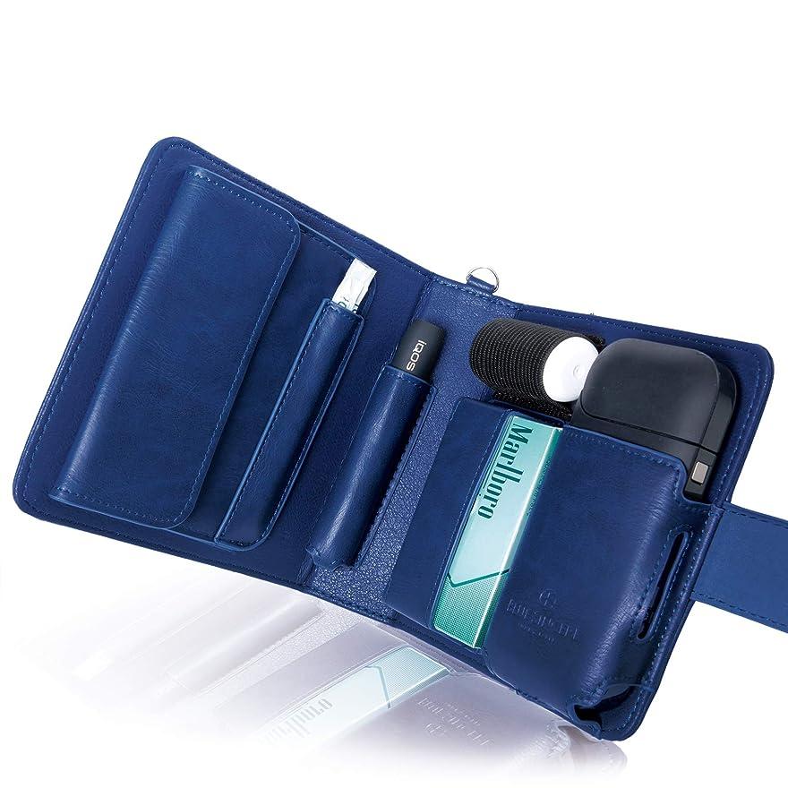 エイリアス懇願するアライメントBLUE SINCERE アイコスケース 手帳型 2本収納 iQOS CASE 2.4Plus 対応 予備ホルダー カード 小銭 収納可能 メンズ レディース (ジェントブルー) IC1jb