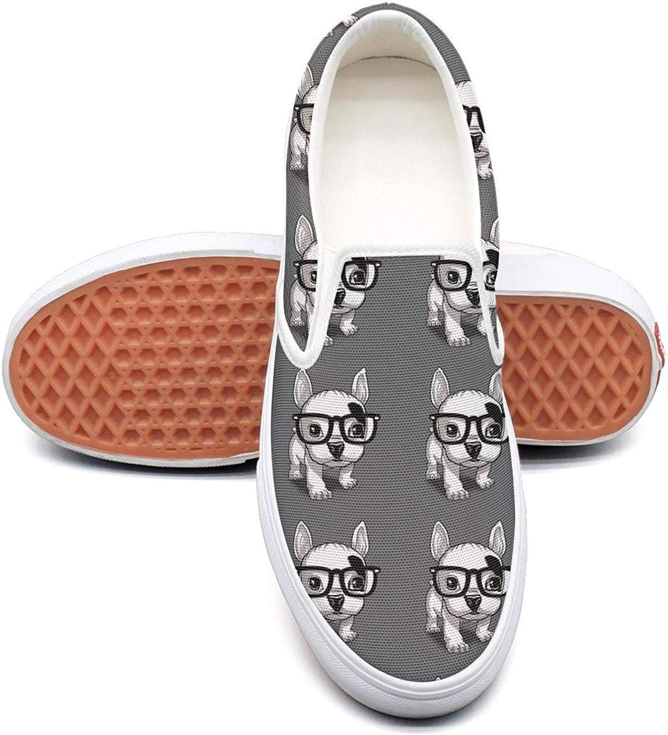 Refyds-es French Bulldog Wear Sunglasses Cool Womens Fashion Slip on Low Top Lightweight Canvas Cloth shoes
