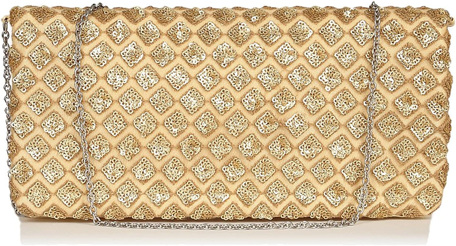 Evening flat satin embroidered floral peach black gold clutch for ladies