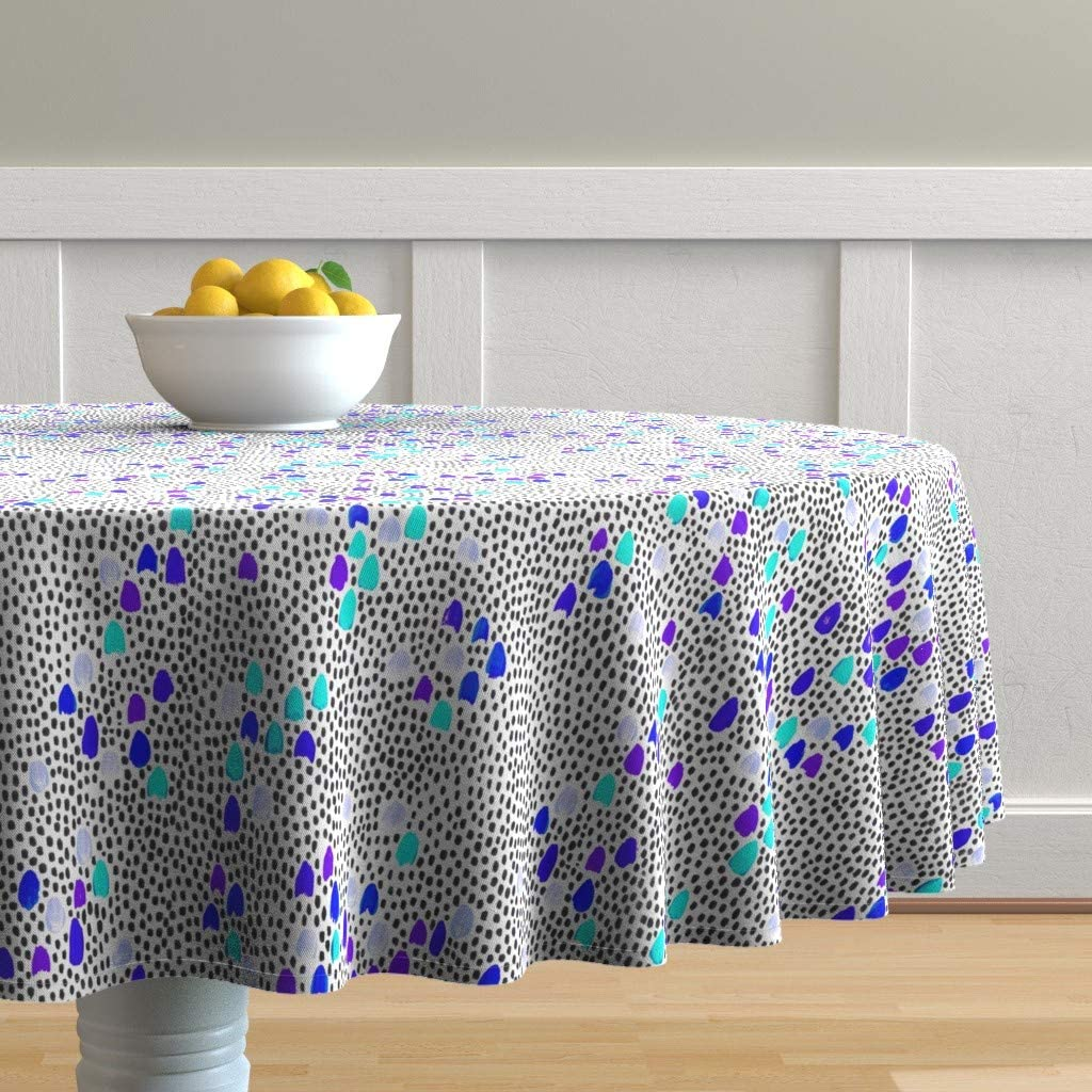 Max 44% OFF Roostery Ranking TOP18 Round Tablecloth Aqua Lavender Watercolor Purple Blue
