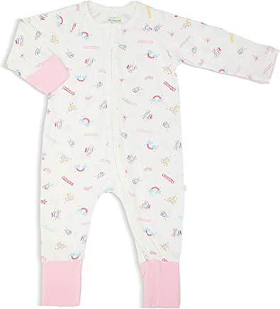 Simply Life Hypoallergenic Bamboo Sleep Suit, Long-Sleeved Zipper with Folded Mittens & Footies, Princess, Pink, 3-6 Months