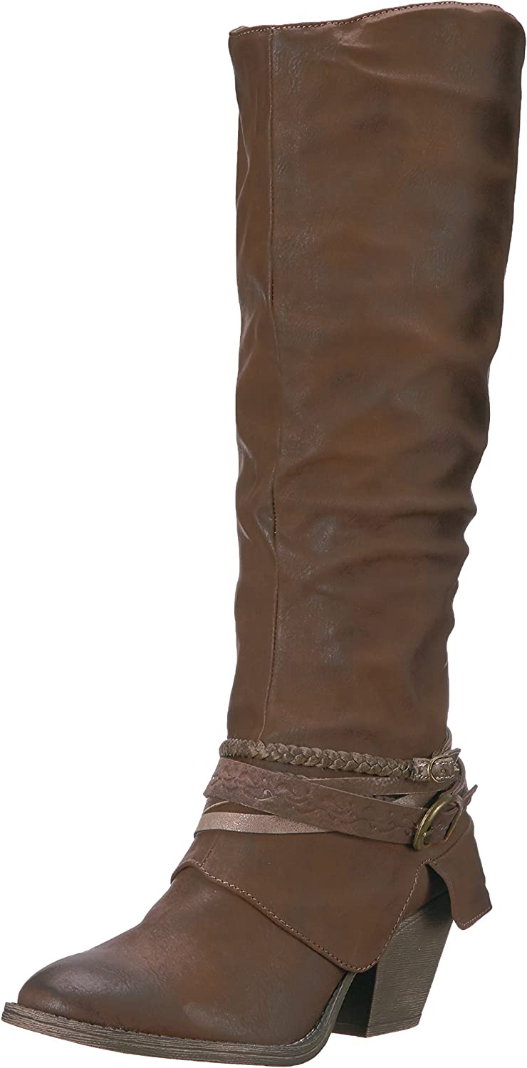 Jellypop Women's pinky Engineer Boot, Brown Distressed Small