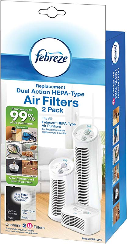 Febreze Replacement Dual Action Filter 2 Pack FRF102B With Odor Reducing Carbon Pre Filter
