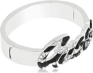 Guess Women's Metal Swarovski Wild At Heart Bracelet,Silver - UBB71206