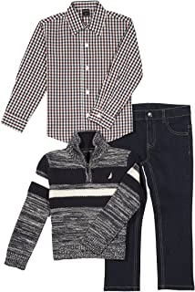 Nautica Three Piece Set with Woven Shirt, Quarter Zip Sweater, and Denim Jean