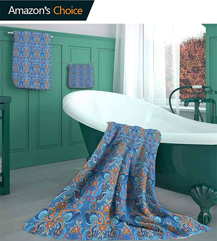 Blue Casaliving 3 Piece Towel Set Abstract Floral Pattern With Paisley Influences Ornate Curls Swirled Leaves Design Pattern Bathroom Set Natural Ultra Absorbent And Eco Friendly 3 Piece Set L