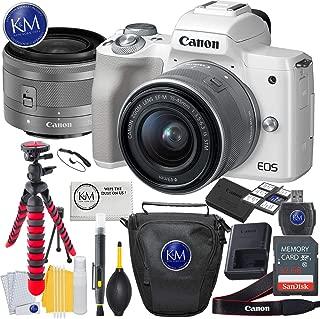 Canon EOS M50 Mirrorless Camera w/15-45mm (White) + 32GB + Essential Photo Bundle