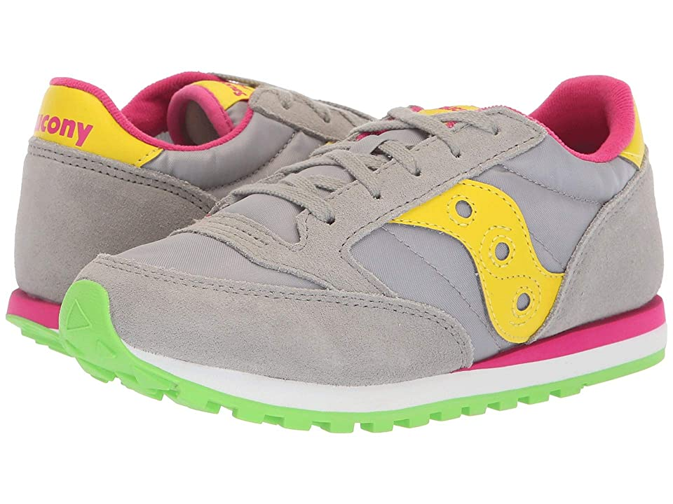 Saucony Kids Originals Jazz Original (Big Kid/Little Kid) (Grey/Yellow) Girls Shoes