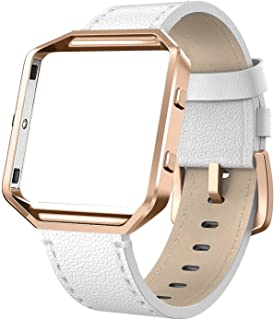 SWEES Leather Bands Compatible with Blaze Smart Watch, Genuine Leather Band with Metal Frame Small & Large for Women Men, ...