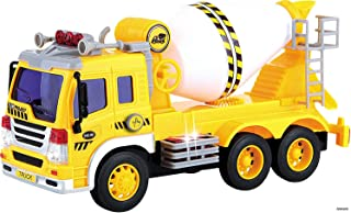 Memtes Friction Powered Cement Mixer Truck Toy with Lights and Sound for Kids
