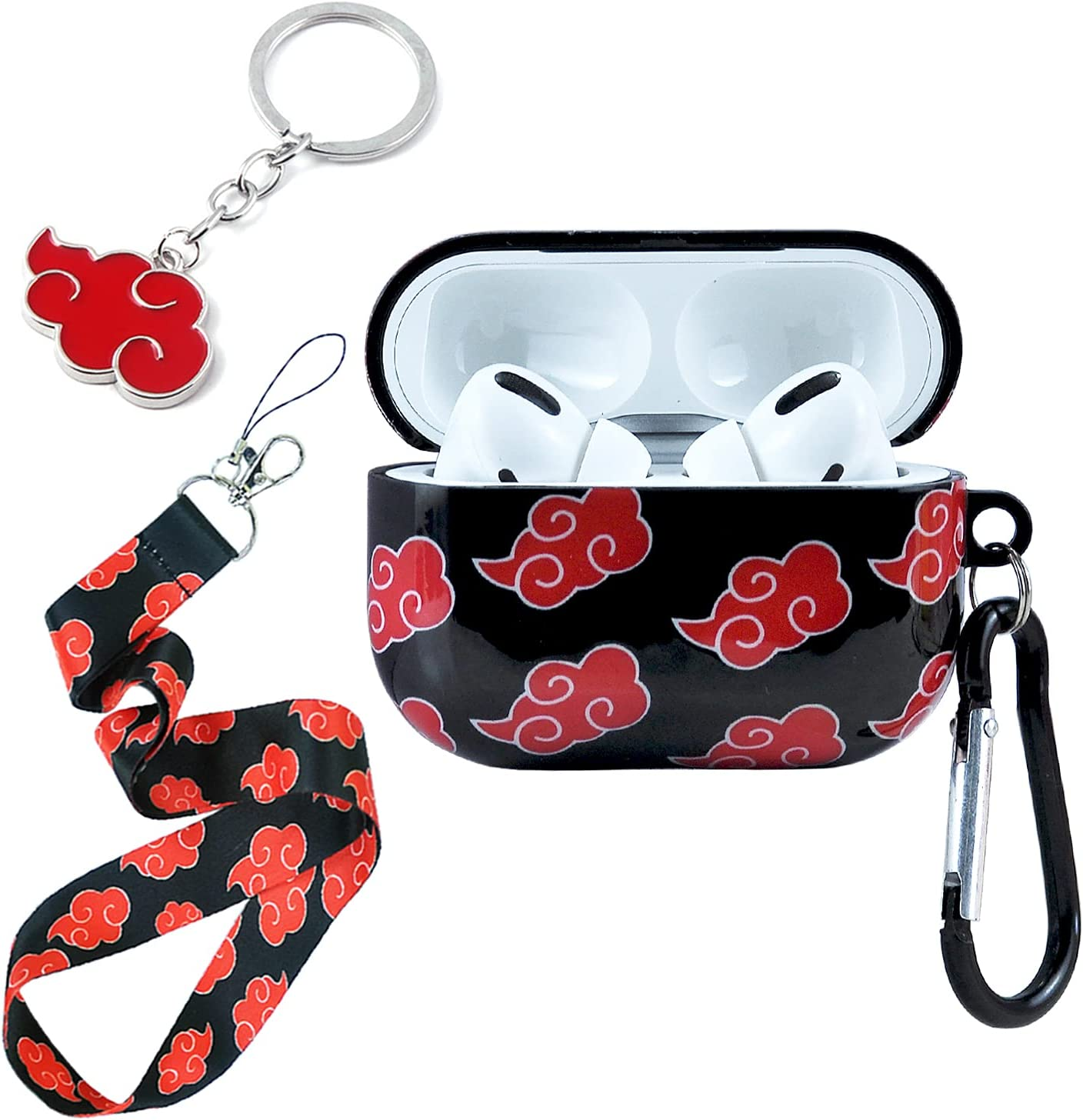 with Red Cloud Lanyard Keychain AirPods Pro Case, Personalised and Unique
