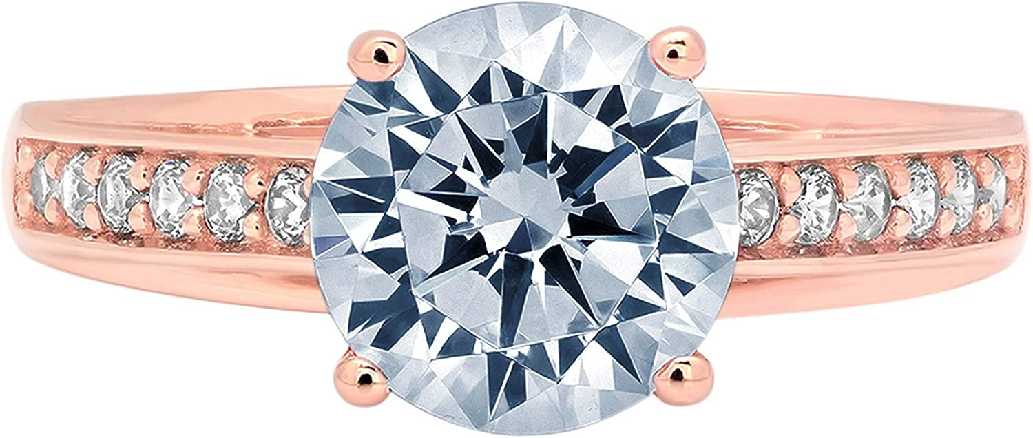 Clara Pucci 2.31 ct Brilliant Round Cut cathedral Solitaire Stunning Genuine Flawless Natural Aquamarine Gem Designer Modern Statement Accent Ring Solid 18K Rose Gold