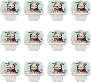 Boutons D'armoire 12 Pcs Poignés Poignée De Champignons Porte Poignées avec Vis pour Cabinet Tiroir Cuisine,Fleurs d'animaux