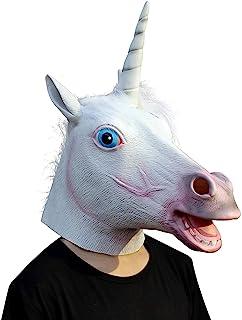 Original Cup - Máscara de Cabeza Animal de Látex, Halloween, Concierto, Fiesta, para Adultos - Unicornio