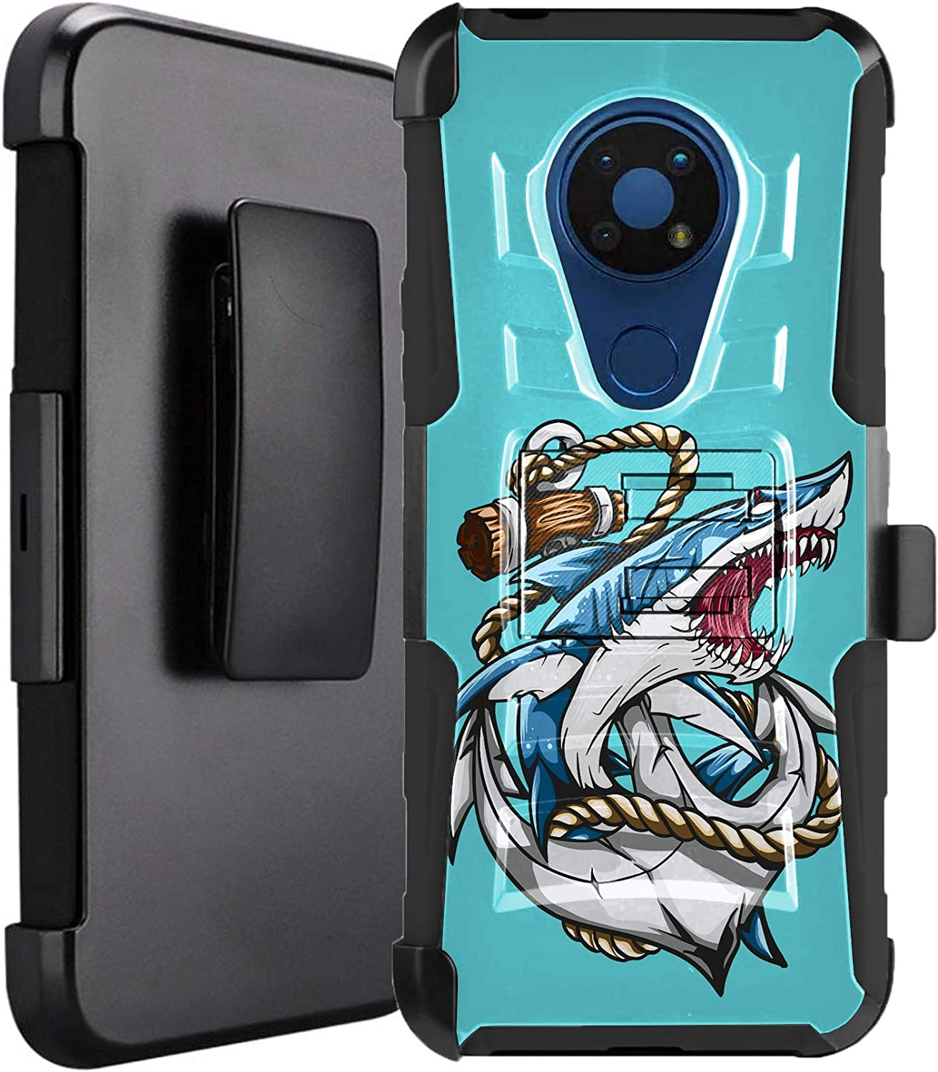 DALUX Hybrid Kickstand Holster Phone Case Compatible with Nokia C5 Endi - Anchor Shark
