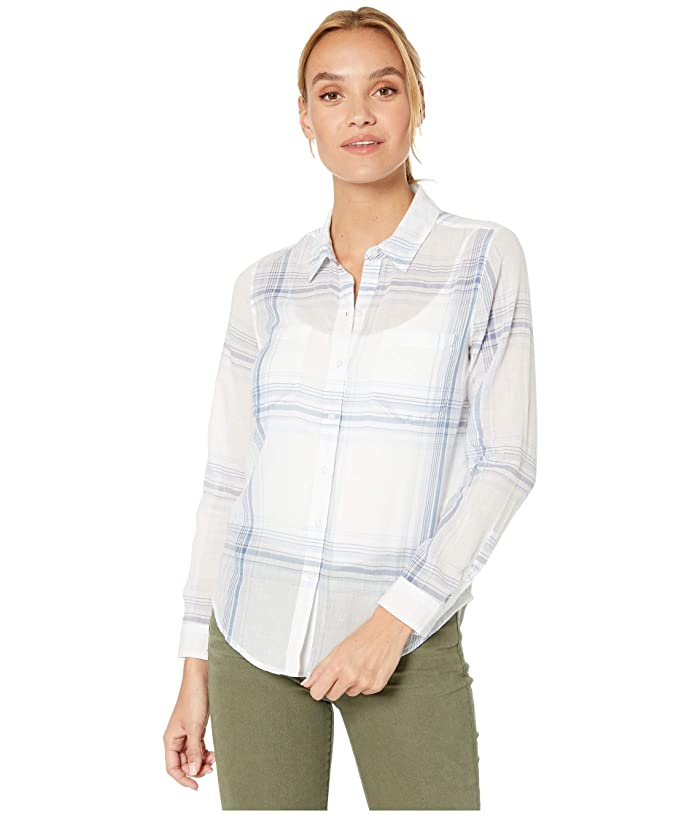 Lucky Brand  Ashley Button Front Shirt (Blue Multi) Womens Clothing