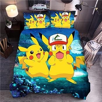 Set Lit Pokemon Pikachu Hurle Pokeball Couette Réversible 140x200 Coton