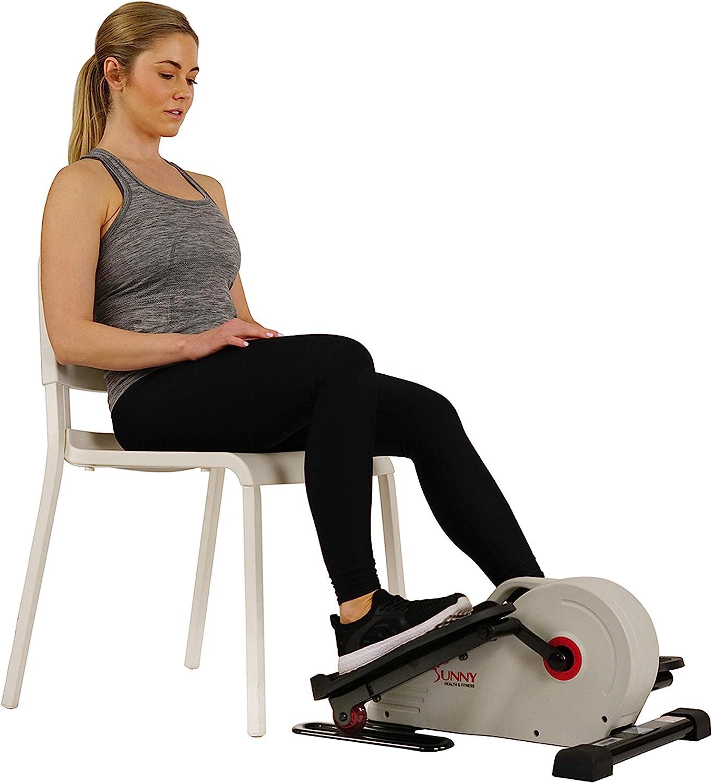 Sunny Health & Fitness Fully Assembled Magnetic Under Desk Elliptical – SF-E3872, Grey