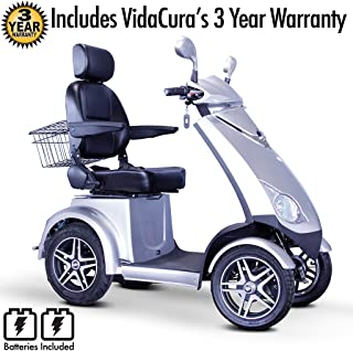 EWheels (EW-72) High Speed, Heavy Duty, High Performance, 4-Wheel Scooter with 3 Year Extended Warranty (Silver)