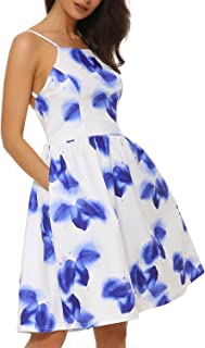 Women's Cocktail Dress Sexy Floral Print Mini Casual Dress Sleeveless Summer Party Dress with Pocket