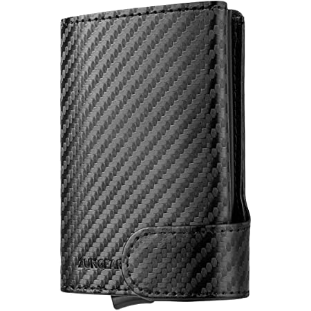 Credit Card Holder RFID Blocking Leather Pop Up Card Wallet with ID Window & Banknote Compartment Bifold Wallet for Men and Women, Carbonfiber
