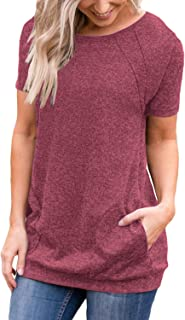 Muhadrs Women's Short Sleeve Casual Tunic Tops Loose Blouse Shirts with Pockets