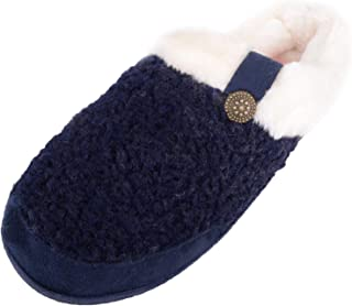 Absolute Footwear Womens Slip On Slippers/Mules/Indoor Shoes with Faux Fur Inners