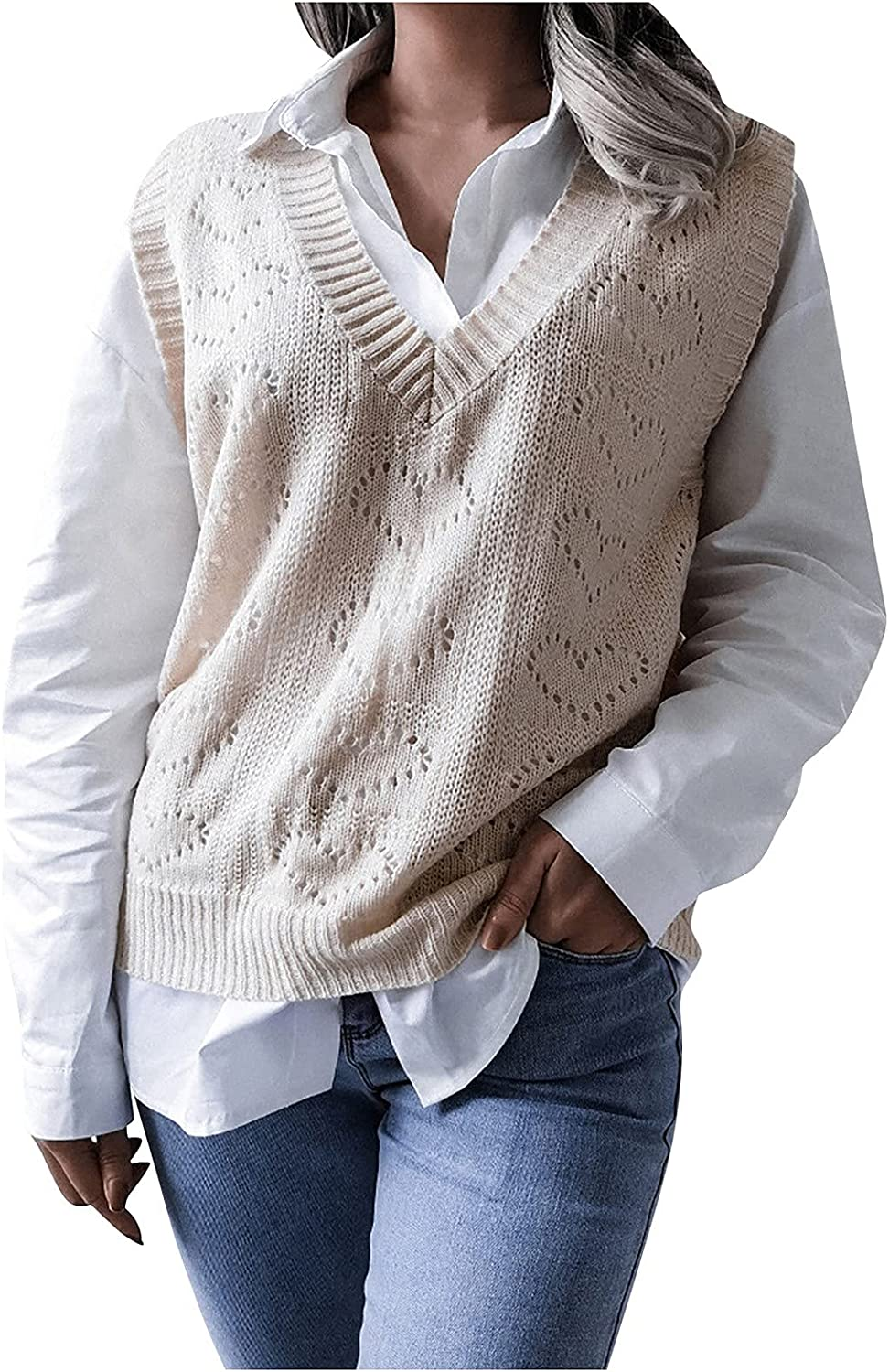 CCRFTGI Sweater Vest Women V Neck Hollow Solid Heart Pattern Sleeveless Casual Pullover Knitted Sweaters
