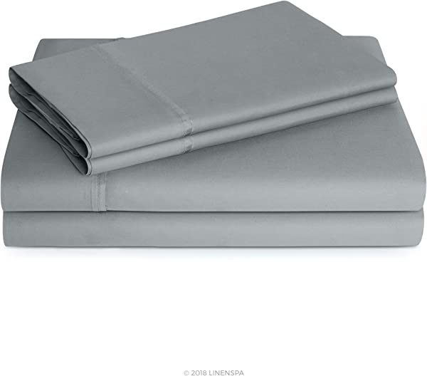 Linenspa 600 Thread Count Ultra Soft Deep Pocket Cotton Blend Sheet Set Queen Stone