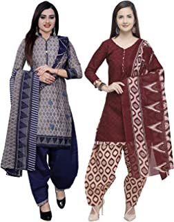 Rajnandini Women's Grey And Maroon Cotton Printed Unstitched Salwar Suit Material (Combo Of 2) (Free Size)