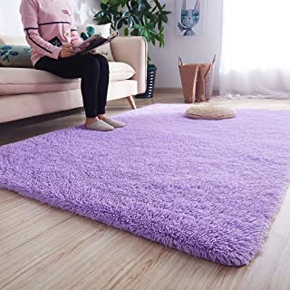 Noahas Super Soft Modern Shag Area Rugs Fluffy Living Room Carpet Comfy Bedroom Home Decorate Floor Kids Playing Mat 4 Feet by 5.3 Feet, Purple