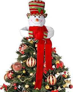 Christmas Tree Topper Snowman Head Hugger with Colorful Hat Shawl and Poseable Arms for Xmas/Holiday/Winter Wonderland Party Home Decoration Ornament