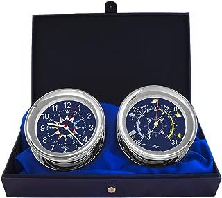 "MASTER-MARINER Blue Mariner Collection, Nautical Windlass Gift Set, 5.85"" Diameter Clock and Barometer Instruments, Chrome Finish, Blue Signal Flag dial"