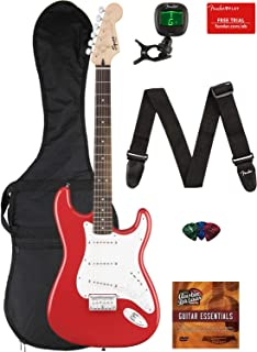 Fender Squier Bullet Stratocaster Hard Tail Guitar - Laurel Fingerboard, Fiesta Red Bundle with Gig Bag, Tuner, Strap, Picks, and Austin Bazaar Instructional DVD