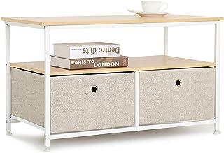 Suhu Mesa Auxiliar Sofa con 1 Estantes 2 Cajón Tela Mesa