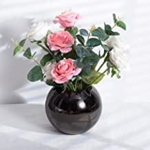 IMEEA Round Flower Vase Stainless Steel Bowl Vase for Home Decor Living Room Centerpieces and Events (Black)