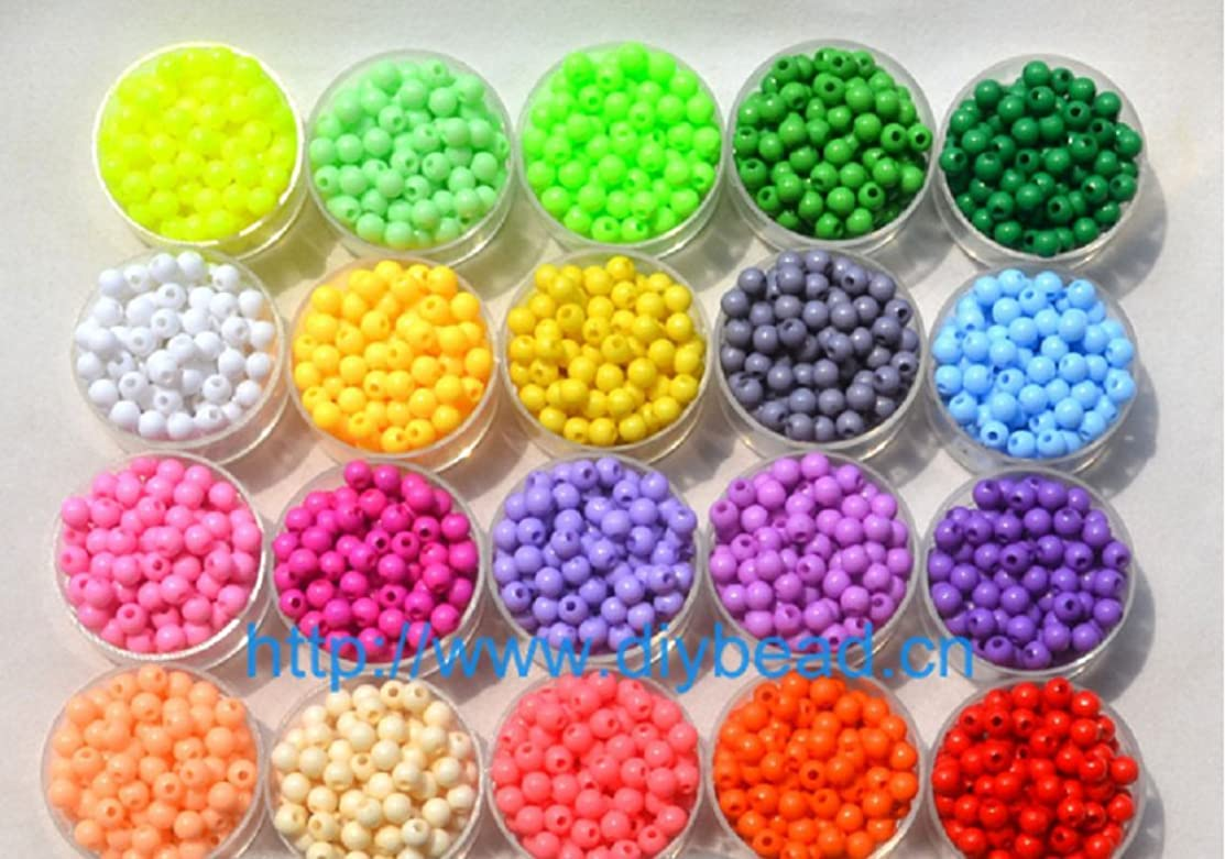 Lingduan 2000 pieces of bulk plastic rainbow opaque mixed color pony beads handmade jewelry beads(Box packing)