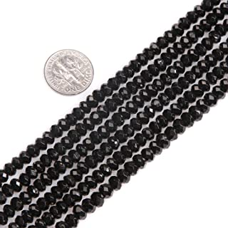 GEM-inside Black Spinel Gemstone Loose Spacer Beads Natural Faceted Rondelle 3X5mm Energy Stone Power for Jewelry Making 15''