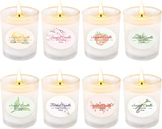 Yinuo Mirror Scented Candles Gift Set, Natural Soy Wax 2.5 Oz Per Cup Portable Glass Candles Women Gift with Strongly Fragrance Essential Oils for Stress Relief and Aromatherapy - 8 Pack