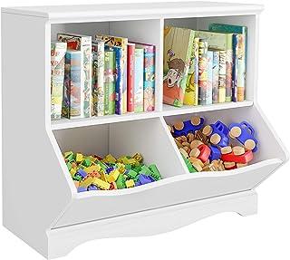 HOMECHO Meuble de Rangement Bibilothèque Enfant avec 4 Compartiments Ouverts, Boîte à Jouets pour Chambre d'enfant et Sall...