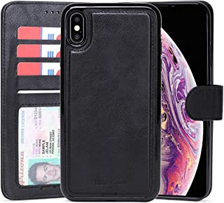 WaterFox Case for iPhone Xs Max, Wallet Leather Case with 2 in 1 Detachable Cover, Men's/Women's 4 Card Slots & Wrist Strap Vintage Case (Black)