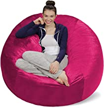 Inkcraft Large 4' Fuf Comfort Suede Bean Bag Chair Cover Only-Brown by Ink Craft (4 feet, Pink)
