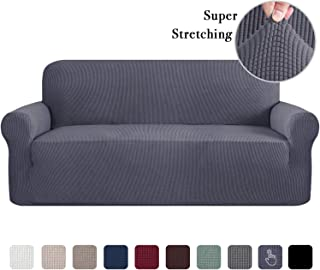Durable Soft High Stretch Jacquard 1 Piece Sofa Slipcover Gray Couch Covers Lycra Furniture Protector Machine Washable Spandex Sofa Covers, XL Sofa Size