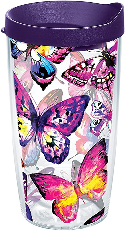 Tervis 1284667 Butterfly Passion Tumbler With Wrap And Royal Purple Lid 16oz Clear