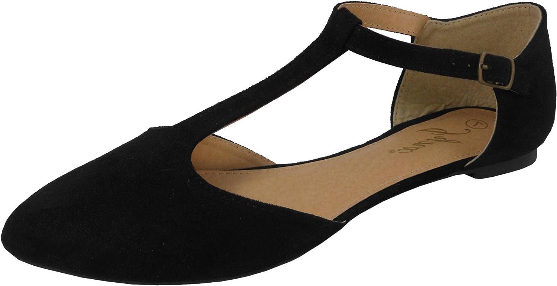 Jynx Women's Mary Jane T-Strap Pointed Toe Ballet Flat