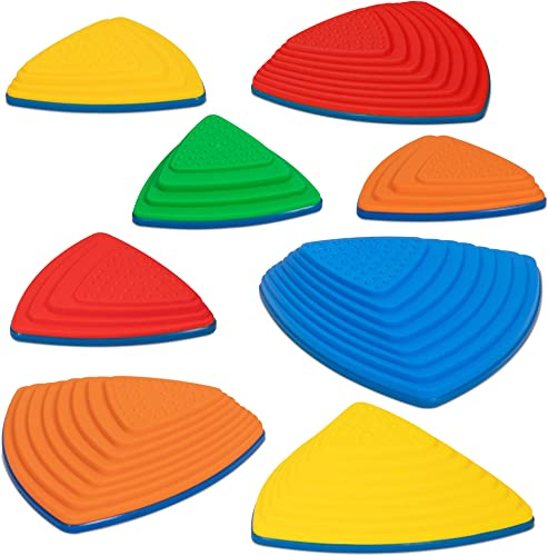 2021 SUNNY & FUN 8pc Premium Balance Stepping Stones for Kids 2021 w/Non-Slip Full Rubberized Bottom | Indoor & Outdoor River Stones, 2 Varying Sizes & Steepness Improves Coordination & Strength 2021 | Max 220 Lbs online