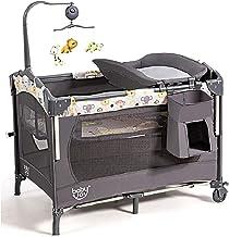 BABY JOY 3 در 1 خواب خواب کودک ، بسته بندی و بازی با باسینت ، ایستگاه تعویض و مرکز فعالیت ، کودک تاشو تاشو با جعبه موسیقی ، چرخ ها