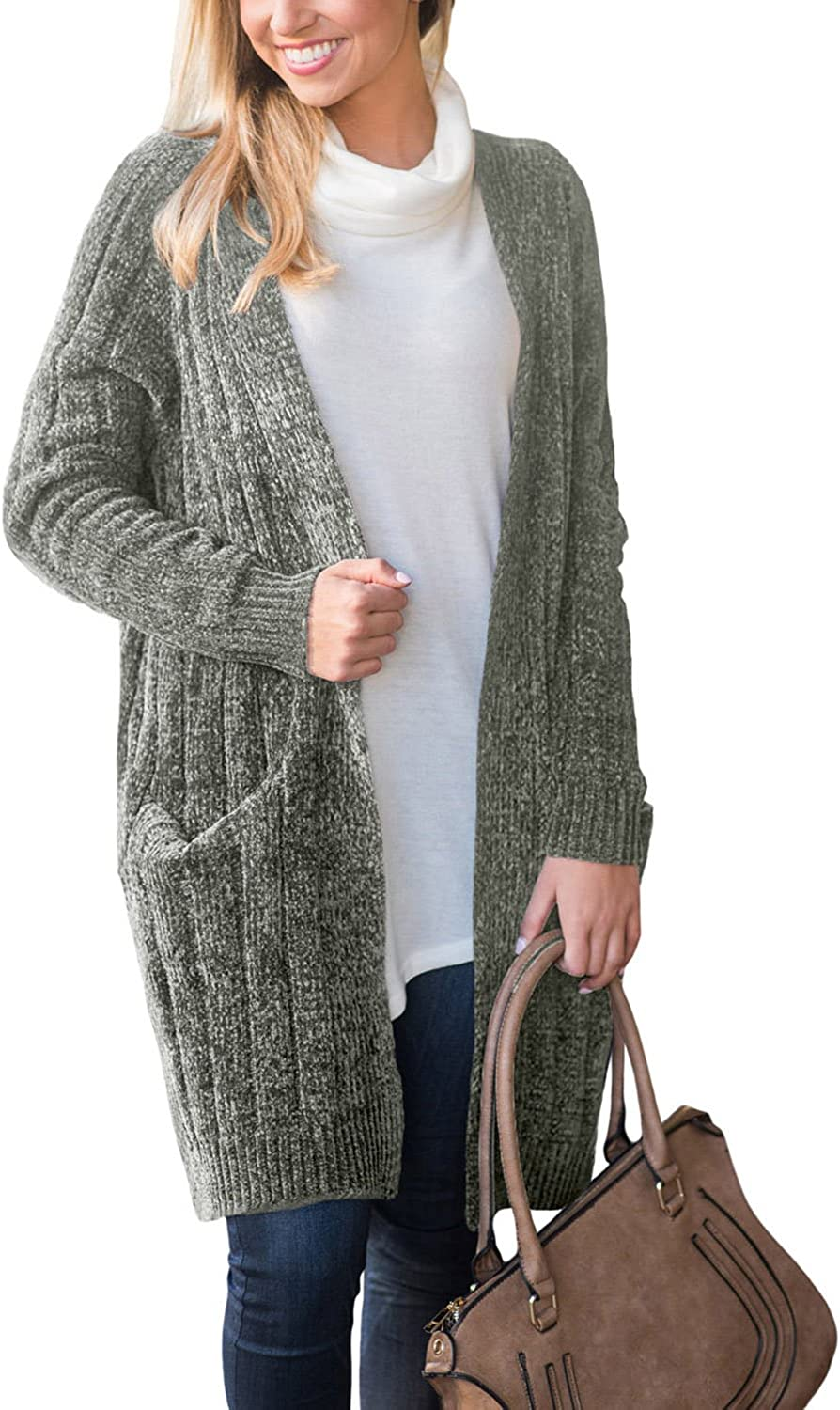 Happy Sailed Women Long Sleeve Ribbed Open Front Long Sweaters Cardigan Outwear with Pockets SXXL