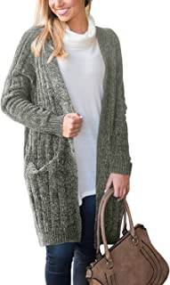 Happy Sailed Women Long Sleeve Ribbed Open Front Long Sweaters Cardigan Outwear with Pockets S-XXL