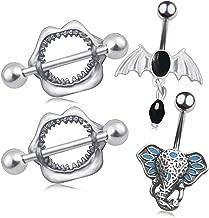CHARM ONLINE 2-4PCS 14G Silver Color 316L Stainless Steel Retro Modeling Nipplerings Piercing Nipple Bars Nipple Piercing Body Jewelry for Women
